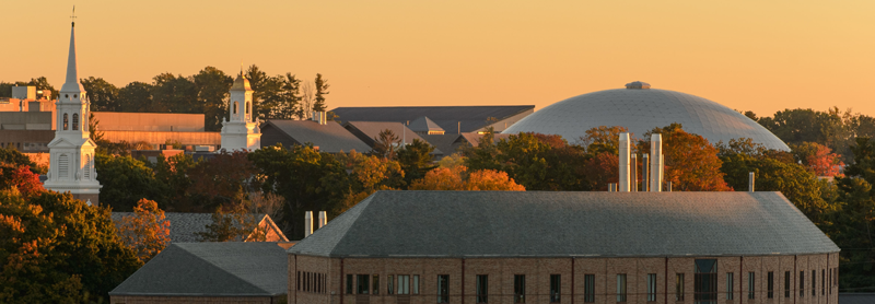 Campus sunset view of rooftops
