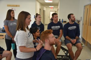 students practicing with ultrasound in physical therapy
